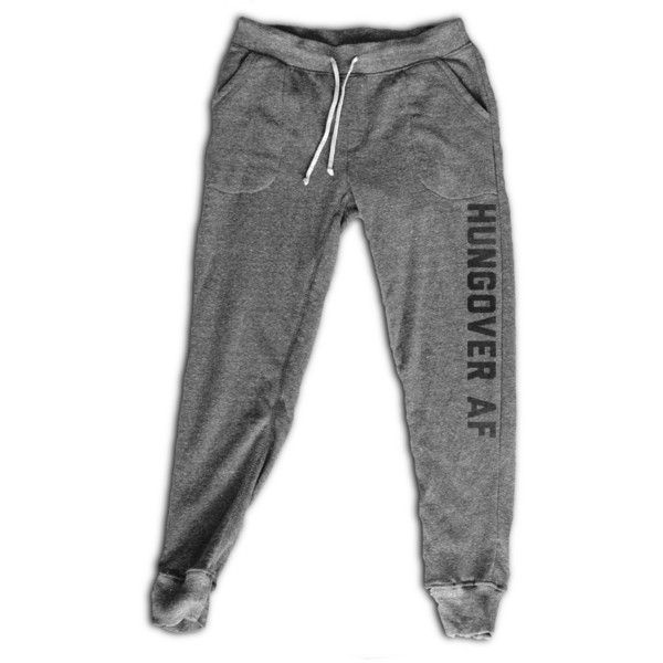Hungover Af Women's Joggers Women's Activewear Fitness Apparel... (44 AUD) ❤ liked on Polyvore featuring activewear, activewear pants, grey, leggings, women's clothing, yoga activewear, grey sweat pants, yoga sweat pants, jogger sweatpants and gray sweatpants