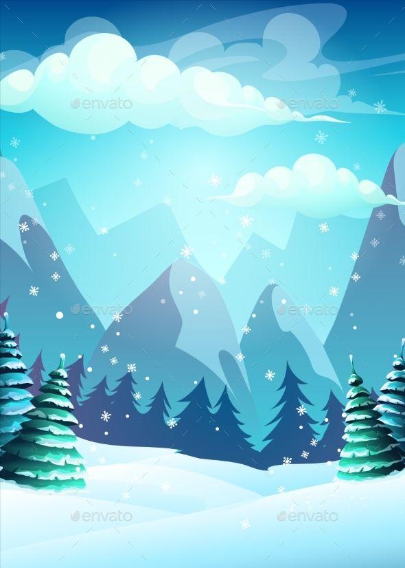 Vector Bright Illustration The Cartoon Winter Christmas Card Illustration Winter Illustration Vector Illustration