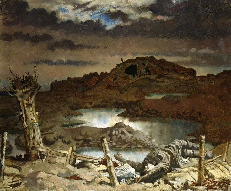 Sir William Orpen 'Zonnebeke', 1918 The Imperial War Museum. Moving on from the French revolution, I decided to focus on the conflict in the First World War. Orpen's painting is different to conventional war paintings as he portrays a silent battlefield and creates quite an eerie atmosphere. The conflict here is not physical, instead it is presented in the aftermath of war .