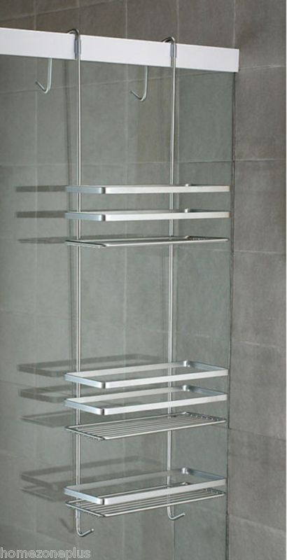 satina chrome hanging shower caddy shelf basket tidy