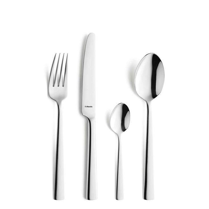 Ménagère 24 pièces composé de : 6 fourchettes 6 couteaux 6 cuillères à soupe 6 cuillères à café Caractéristiques techniques : Matière : inox 18/10 Epaisseur ...