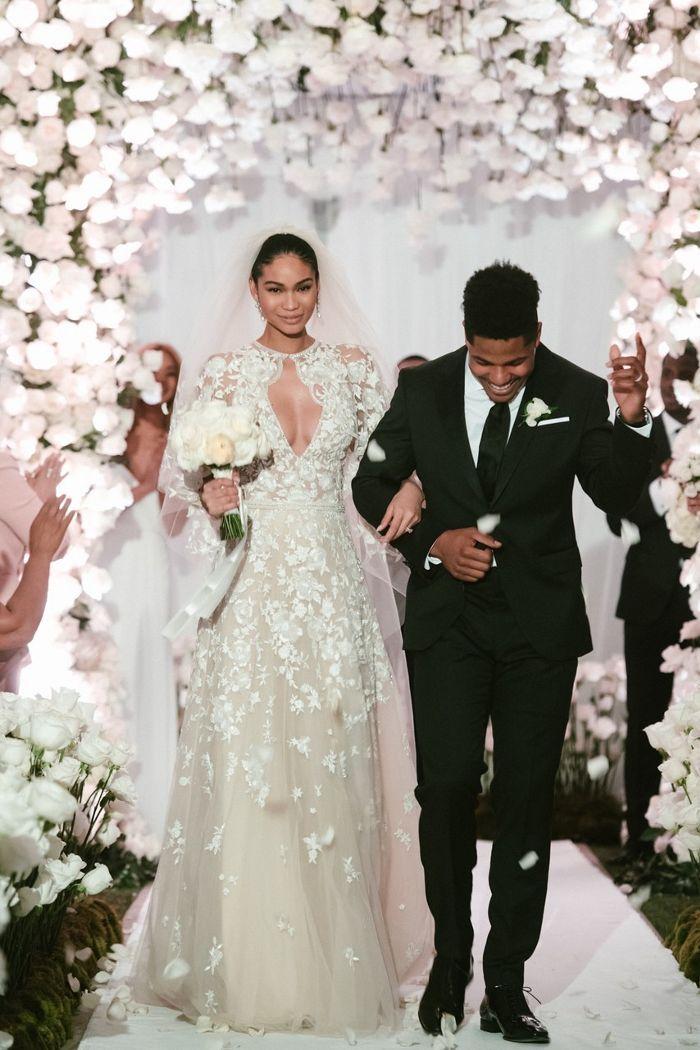 Chrissy Teigen Wore A Stunning Fringed Gown To Chanel Iman S Wedding Celebrity Wedding Dresses Blush Pink Wedding Dress Best Wedding Dresses