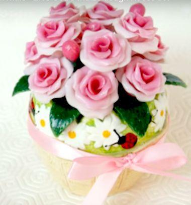 DIY homemade cold porcelain rose bouquet in a pot // Gyönyörű hideg porcelán rózsa csokor kaspóban házilag // Mindy - craft tutorial collection