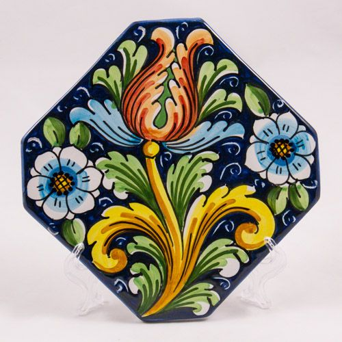 Miscellaneous: #Italy. Hot Pad. Red Tulip and Blue Flowers. #Caltagirone #Ceramics. Hand Made. 16 cm