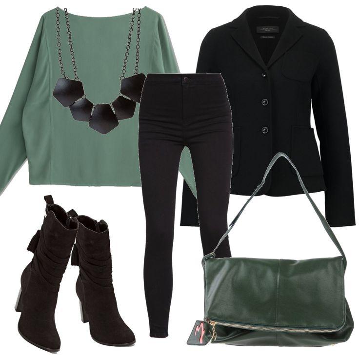 Un paio di jeans skinny possono essere la base per un look da ufficio non troppo formale ma molto grintoso. Ho aggiunto degli stivaletti con il tacco, un blazer classico nero e una splendida blusa verde, abbinata alla borsa. La collana riprende il nero dell'outfit.