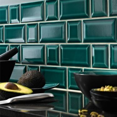 square and subway bevel tile dot dash pattern - in a great turquoise color!