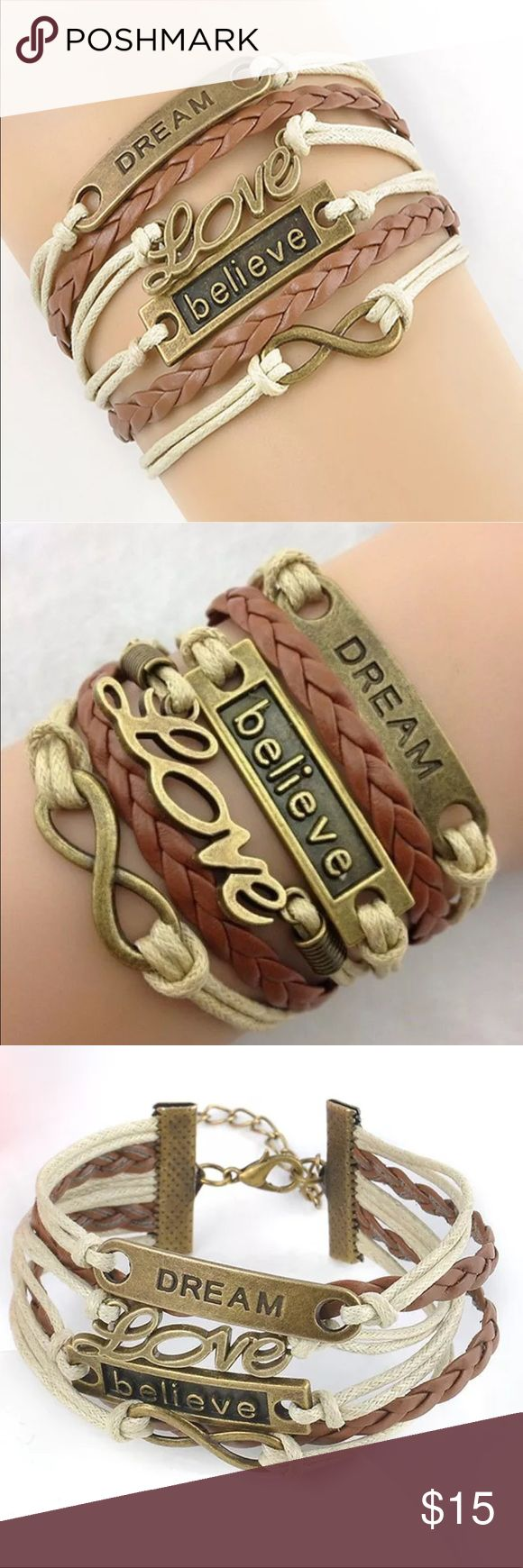 New✨ Dream, Love, Believe, Infinity Bracelet 😍✨ ✨ Fashion Jewelry ✨ Alloy, Vintage Gold Plated, PU Leather   🔸Brand New✨ 🔸PRICE IS FIRM- already listed at lowest price  🔸If you want to save please look into bundling  🔸In Stock 🔸No Trades 🔸Will ship within 24- 48 hours Monday-Friday  🚫Please -NO- Offers on items priced $10 and under AND ON SALE ITEMS‼️  🚫Serious Inquiries Only❣️  🔹Bundle one or more items from my boutique to only pay one shipping fee✨ Jewelry Bracelets