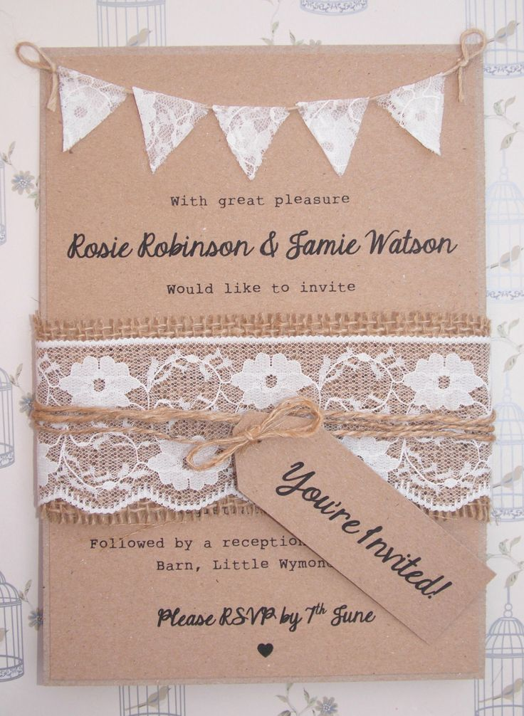 diy rustic wedding invitations burlap%0A Lace Rustic Wedding Invitation Lace Bunting on Kraft Card with Burlap and  Lace band