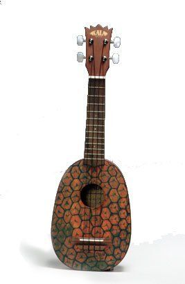 Kala KA-PSS Mahogany Soprano Pineapple Ukulele by Kala. $94.00. Ukuleles are fun! Right? Try to be sad while strumming a Pineapple uke; it just doesn t work. Play it and laugh or just hang it on the wall and see what your friends say. The Kala Pineapple ukulele is crafted of agathis, a wood that is similar in appearance and tonal properties to mahogany and has a screen printed pineapple image covering the entire body. The Kala Pineapple ukulele also features a u...