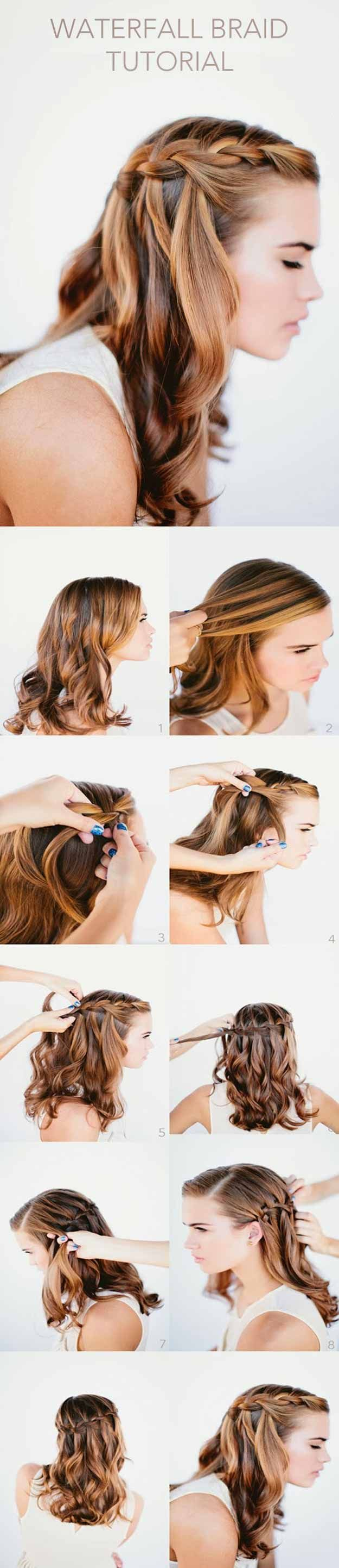 Best 5 Minute Hairstyles - How to do a Waterfall Braid Hairstyle