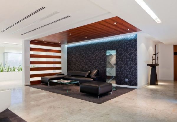Linear wood ceiling with wood slat wall commercial for Interior designers in my area