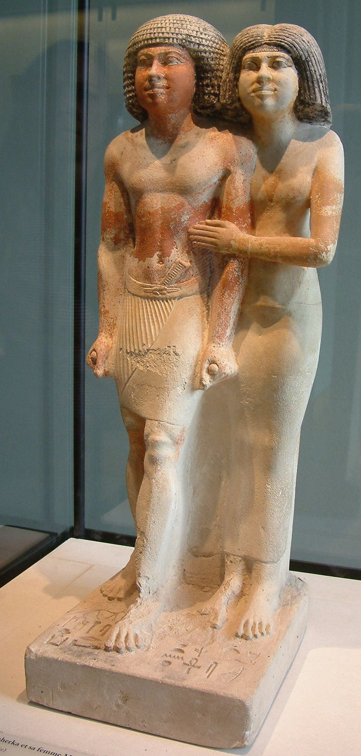 Standing statue of Raherka,inspector of scribes,and his wife Meresankhn,c. 2350 B.C. (4th-5th dynasty)
