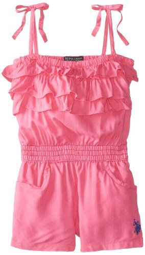 U.S. POLO ASSN. Little Girls' Rayon Tiered Ruffled Romper, Pink Kite, 4T - Click image twice for more info - See a larger selection of girls jumpsuit at http://girlsdressgallery.com/product-category/girls-jumpsuit/- girl, girls, little girls, kids, kid, girls fashion, kids fashion, gift ideas, over all for girls, jumpers, jumpsuit, romper