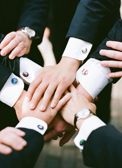 Custom cuff links for groomsmen. Photo by Graham Terhune Photography (via Southern Weddings).