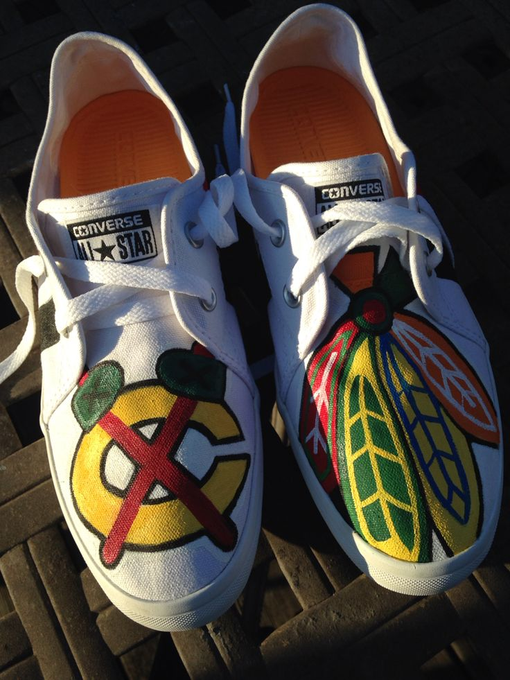 Hand painted Chicago Blackhawks  on Converse shoes  Price total $85.00 Contact  TheEndDesign for orders
