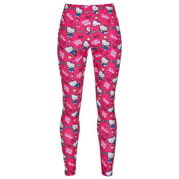 These standout leggings will see you through any workout, featuring the much-loved Hello Kitty character in bright and beautiful pink.  Made with the highest-quality material, these thick-waisted, full-length gym leggings are complete with compression power, so they're ideal for cold climates, as well as breathable for those sweaty indoor gym sessions.  The Active Pink full-length workout leggings are part of our exclusive collaboration with Hello Kitty. #HelloKitty