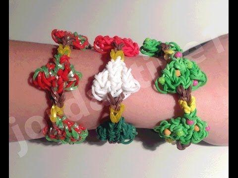 New Rainbow Loom Holiday Christmas Tree Bracelet - Part 1 - YouTube