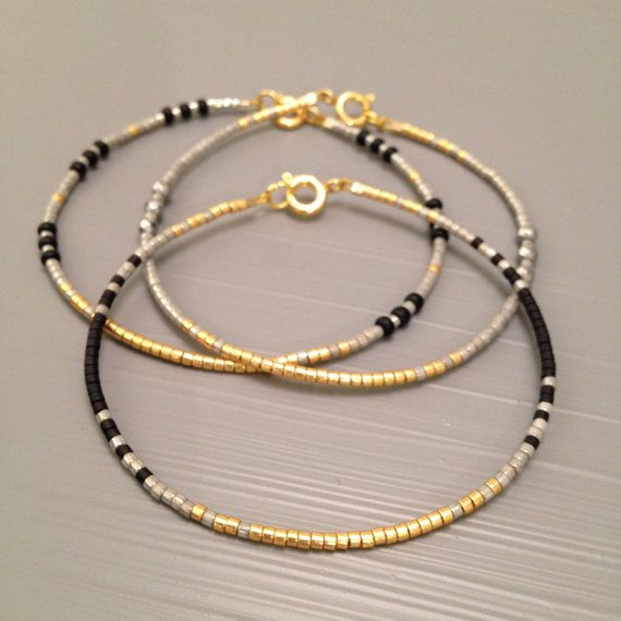 Minimalist Bracelet, Dainty Bracelet ,Bridesmaid Gift Bridesmaid ,Bracelet, Black Gold Theme Wedding Bracelet This listing is for one beaded gold
