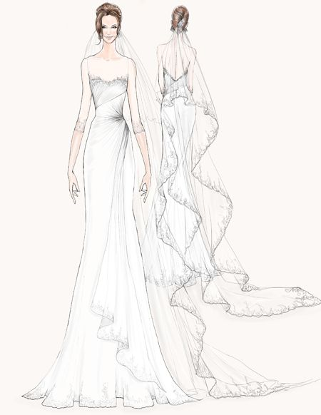 Angelina Jolie wedding dress sketch #weddings. Illustration courtesy of Watters.