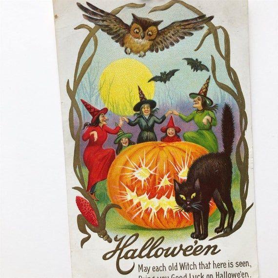 Woman Pumpkin Halloween Poster by John Winsch 1912 7x5 Inch Reprint