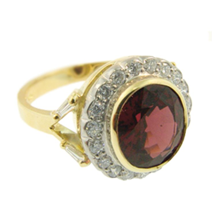 18ct Yellow & White Gold Garnet & Diamond Cluster Style Ring. Handmade at Cameron Jewellery by Peter Cameron & Sam Drummond.