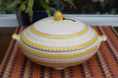 British Anchor – Cottage Green – Yellow Lidded Tureen – (04/29/2012) measures 7 ¼ inches across