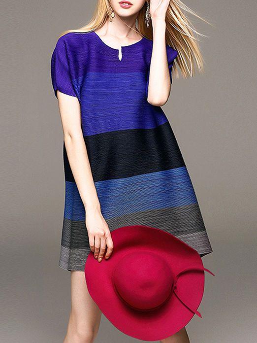 Oversize Color-block Mini Dress