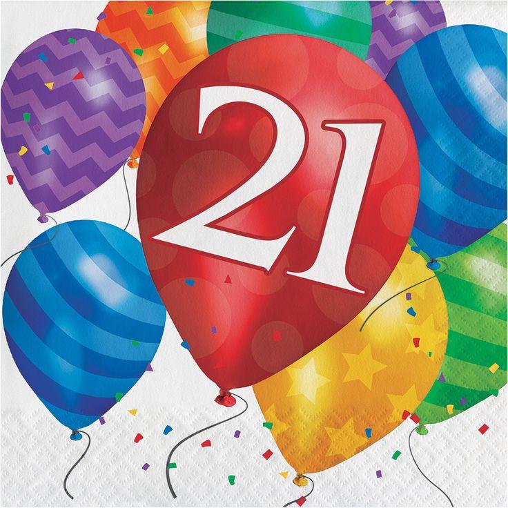 "Creative Balloon Blast ""21 Years Old"" Birthday Lunch Napkins"