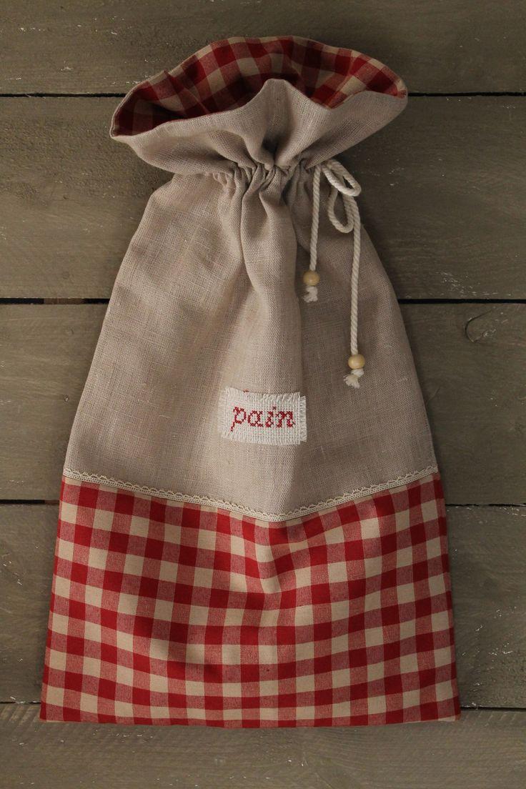 petit sac à pain lin et tissu carreaux rouges : Cuisine et service de table par…