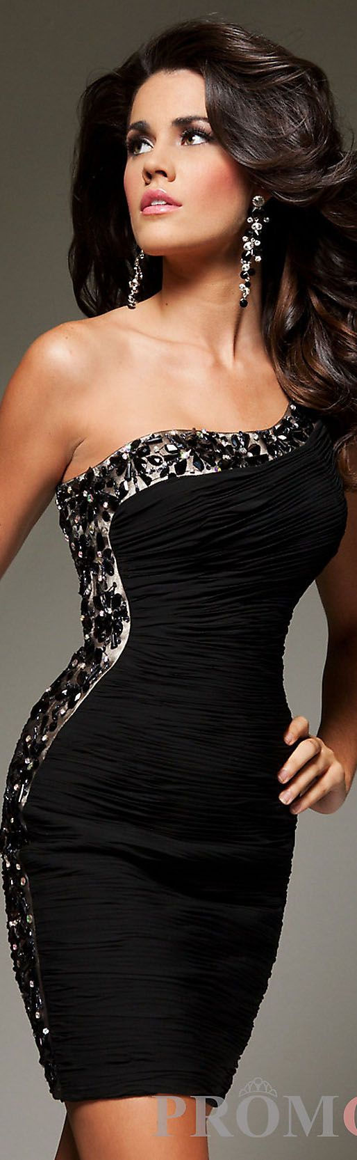 Sexy mini dress, one shoulder, black