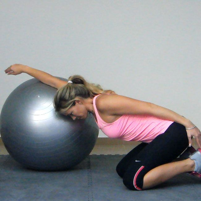 The Pec Stretch with an Exercise Ball is a great stretch for lengthening your pectoral muscles.