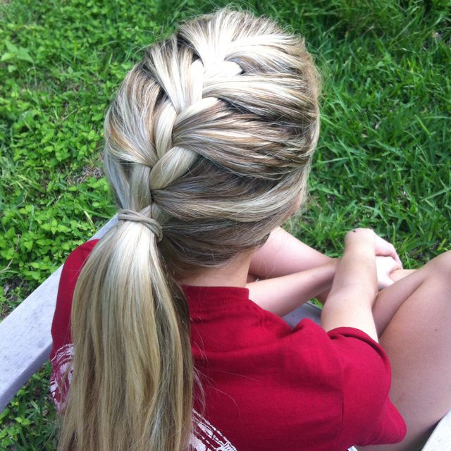 Braided pony! Good for my girls during soccer games!