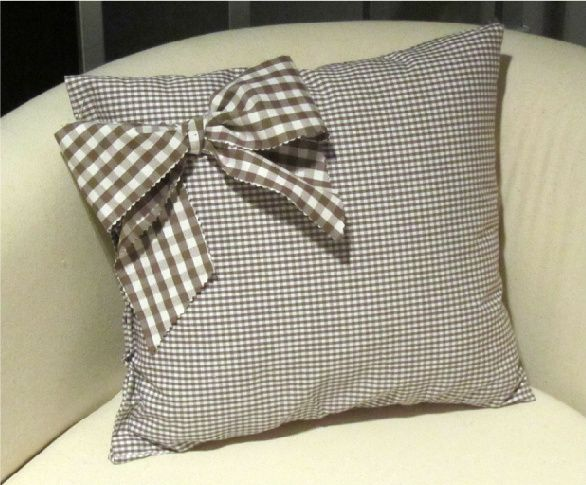 plaid pillow with bow