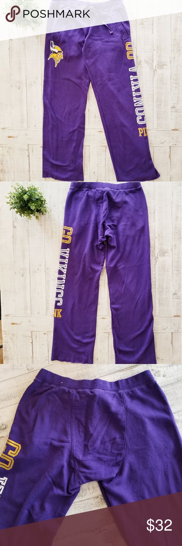 Victoria's Secret Pink NFL Vikings Sweat Pants Adorable Victoria's Secret Pink NFL Vikings purple sweat pants! These sweats are so comfy! The waist, front pockets, bedazzled writing, and raw edge hem! These are in great shape with just a little cracking on the gold letters shown in picture.  *measurements are approximate  Waist: 16 inches  Rise: 11.5 inches  Inseam: 33 inches PINK Victoria's Secret Pants Track Pants & Joggers