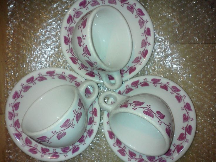 Diner Cup & Saucer Buffalo China Restaurant Ware Red Ivy Band on White Set of 6 #BuffaloChina