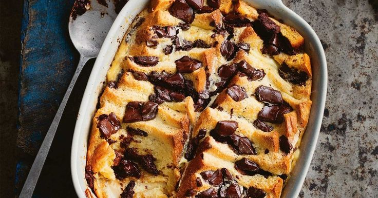 """""""My version of pain perdu pudding is flavoured with bitter dark chocolate and sweet navel orange. It's delicious served hot, with a simple ice-cream spiked with glacé ginger. If you're really feeling naughty, try using pain au chocolat instead of brioche!"""" Manu Feildel"""
