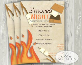 Bonfire Birthday Invitation Campfire by SweetBeeDesignShoppe