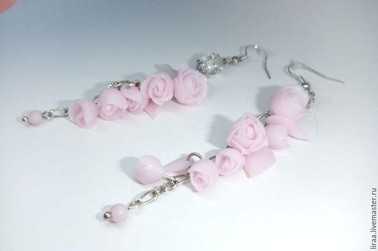 """Купить Серёжки """"Нежность"""" - бледно-розовый, серьги, серьги длинные, цветы, цветы из полимерной глины"""