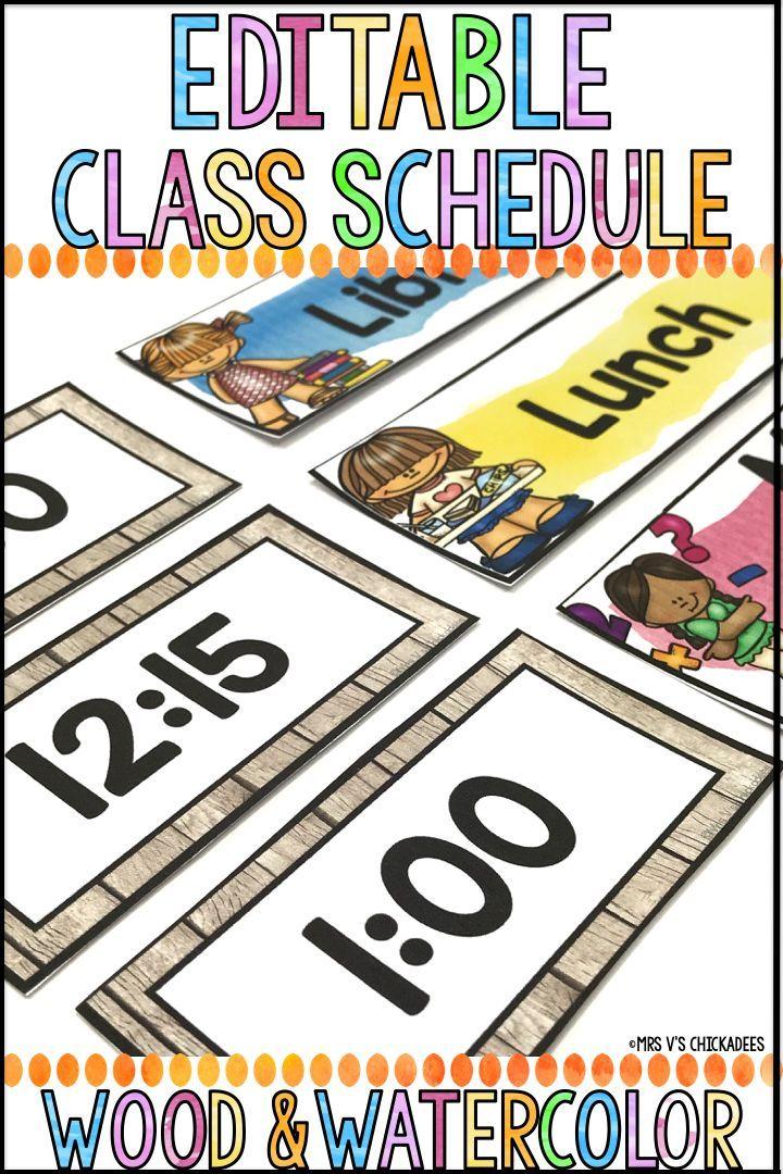 Editable Class Schedule Wood Watercolor Decor KINDERGARTEN