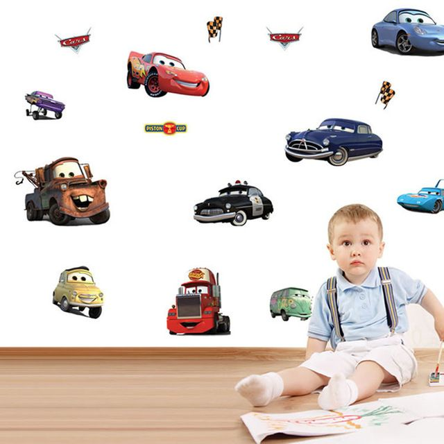 voiture de dessin anim enfant chambre d coration stickers. Black Bedroom Furniture Sets. Home Design Ideas