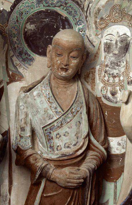 莫高窟第45窟 西壁佛龕彩塑臨品 盛唐 弟子阿難及其身後描繪的苦薩