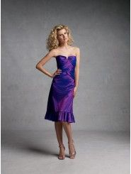 A-line Taffeta Asymmetrical Crisscross Bands Bodice Strapless Notched Neckline Bridesmaids Dresses (STBY11169T)