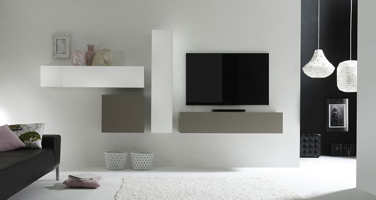 Ensemble TV mural design laqué gris mat et blanc brillant MICHELE, Ensemble meuble TV mural design