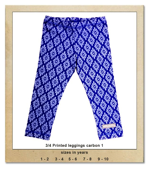 Sillybilly© clothing: 3/4 printed leggings carbon 1