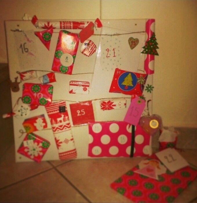 Pink advent calendar. Christmas 2013
