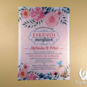 Nyomtatott esküvői meghívó 69. #esküvői #meghívó #nyomtatott #esküvőimeghívó #egyedi #akvarell #virágos #wedding #weddinginvitation #flowers #colorful #watercolor