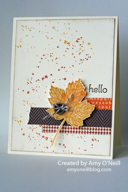 I think I've seriously been hoping that by making Fall-themed cards that I could hurry Fall along here. It's not happening! We are still in the throes of Summer. But here's one…