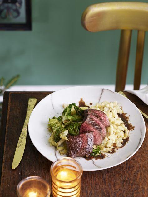 Gebakken hertenfilet met balsamico-jus en knolselderijpuree - Foodies