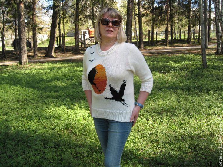 """Купить Пуловер """"Почему люди не летают........?"""" - комбинированный, рисунок, пуловер вязаный, кофта вязаная"""