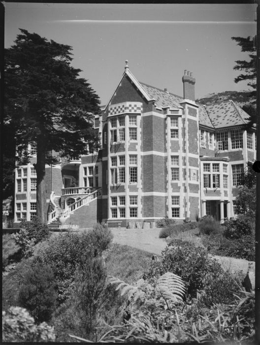 Exterior view of Mr Hope Gibbons' house at Lyall Bay, Wellington